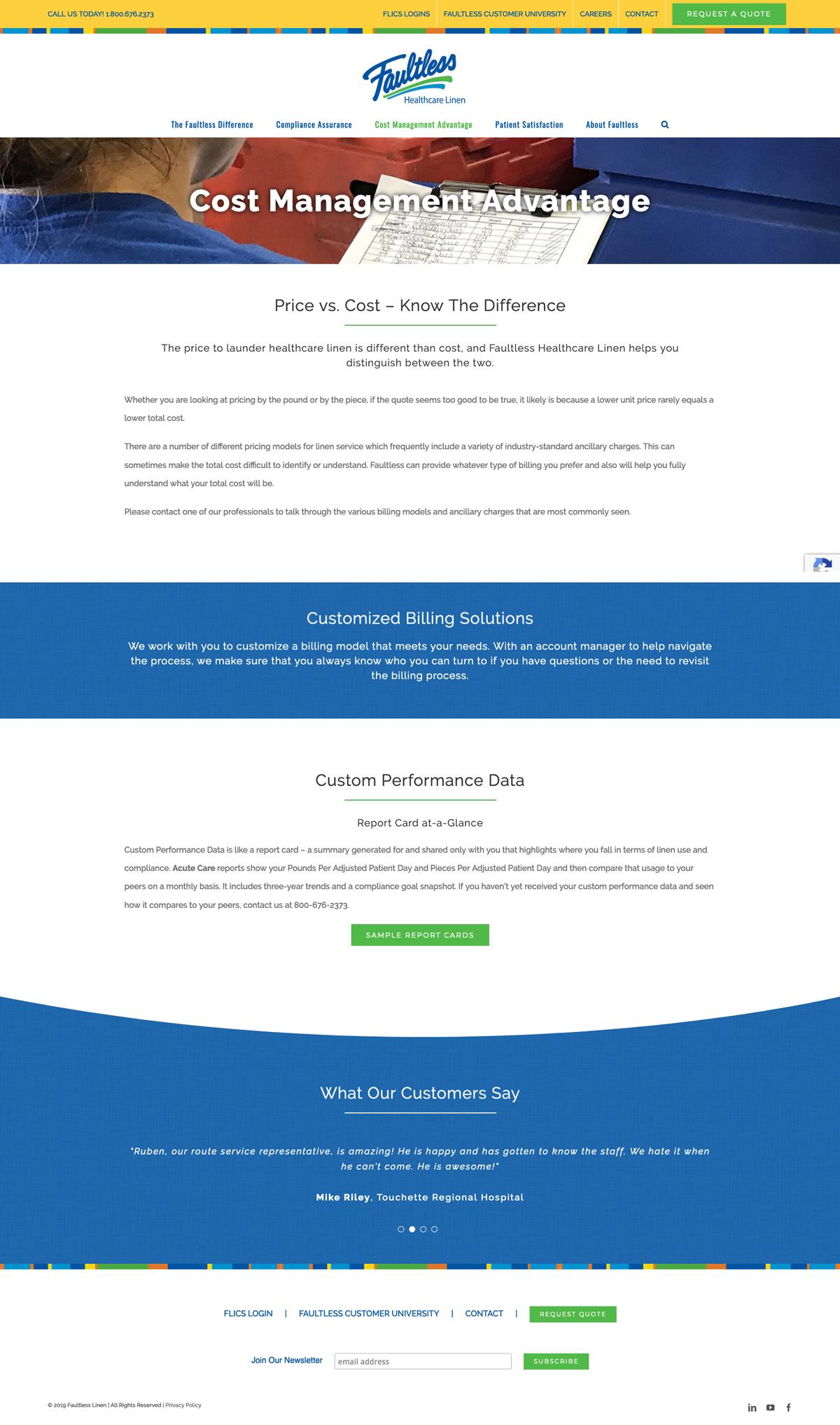 Company Website Design for Faultless Healthcare Linen - Cost Management Advantage