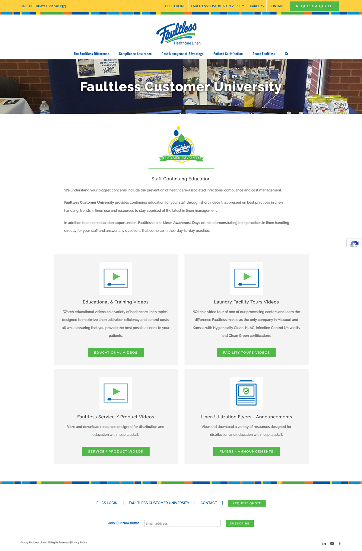Company Website Design for Faultless Healthcare Linen