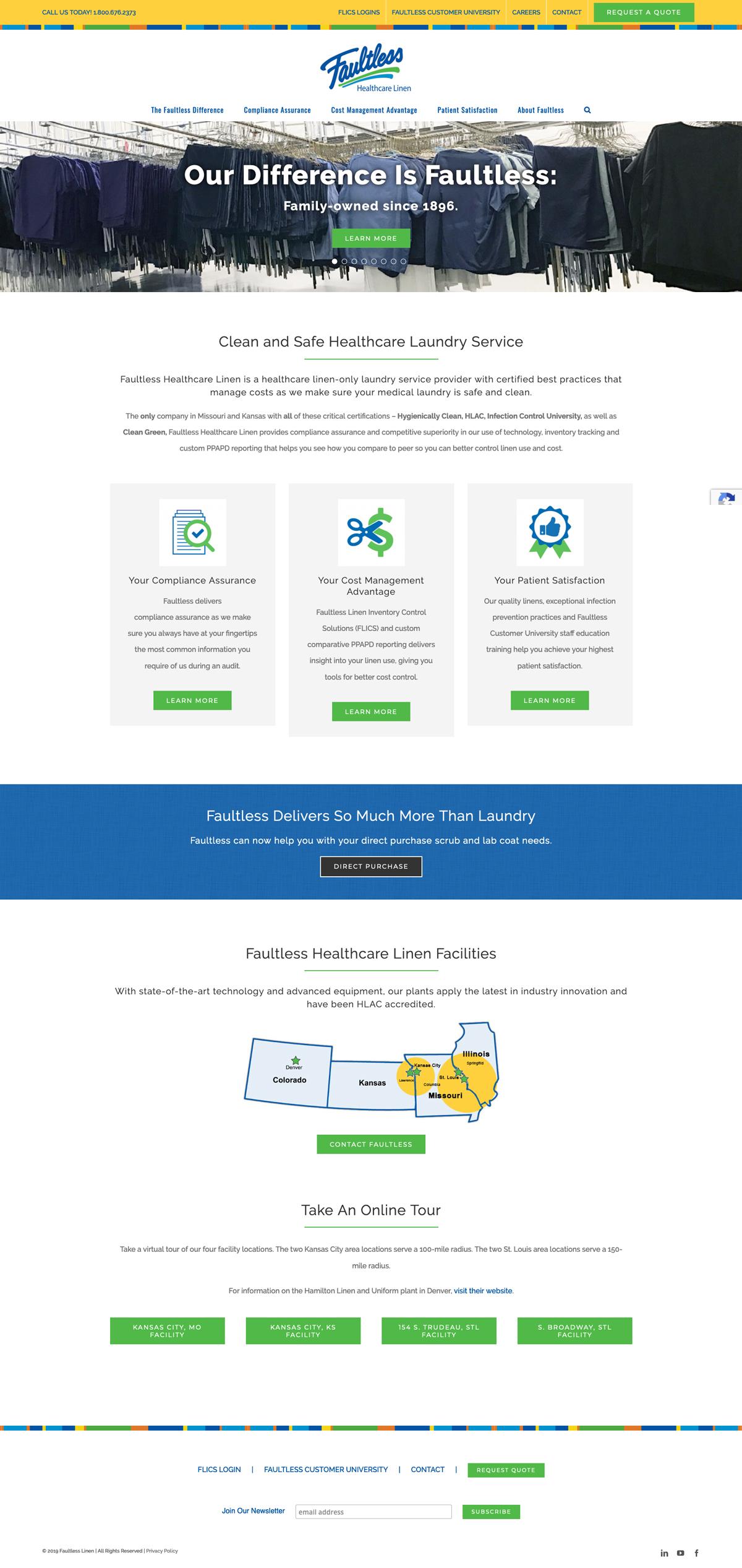 Company Website Design for Faultless Healthcare Linen