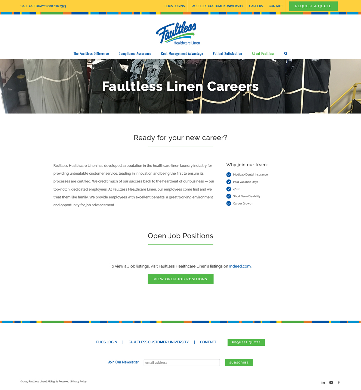 Company Website Design for Faultless Healthcare Linen - Careers Page