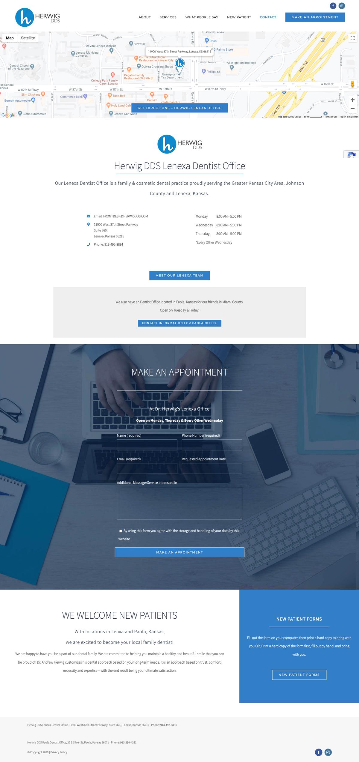 Web Design for Herwig, DDS Lenexa Office