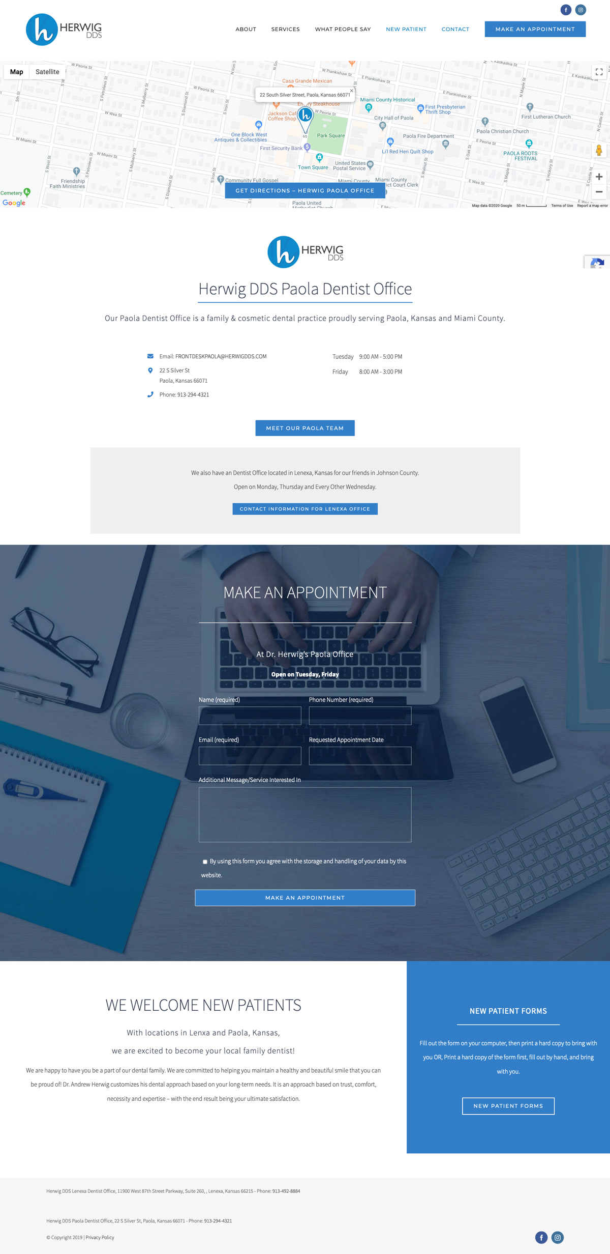 Web Design for Herwig, DDS Paola Office