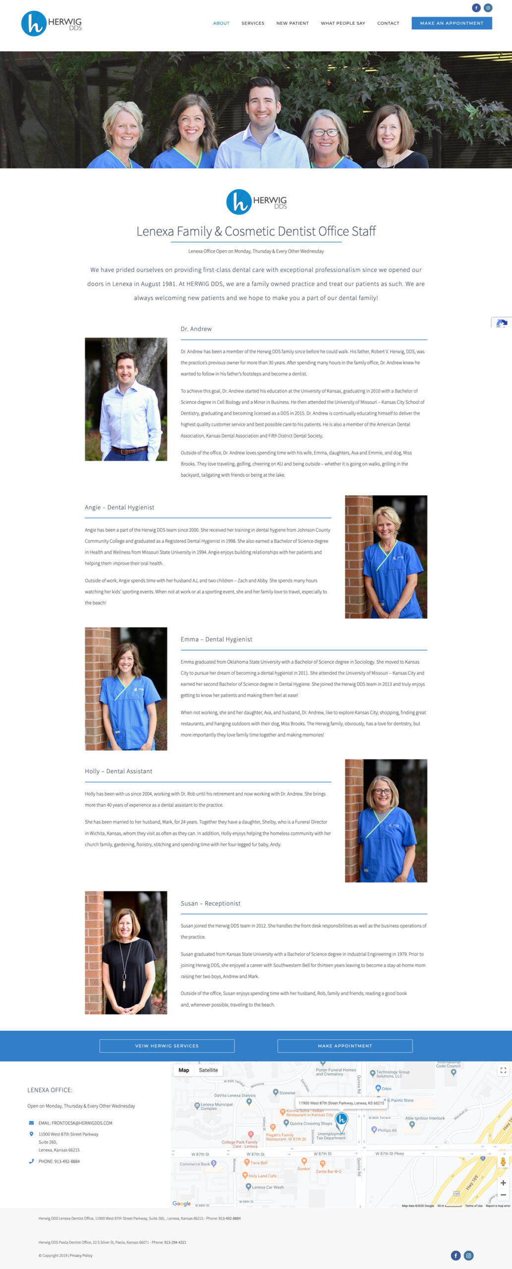 Web Design for Herwig, DDS Meet the Lenexa Team
