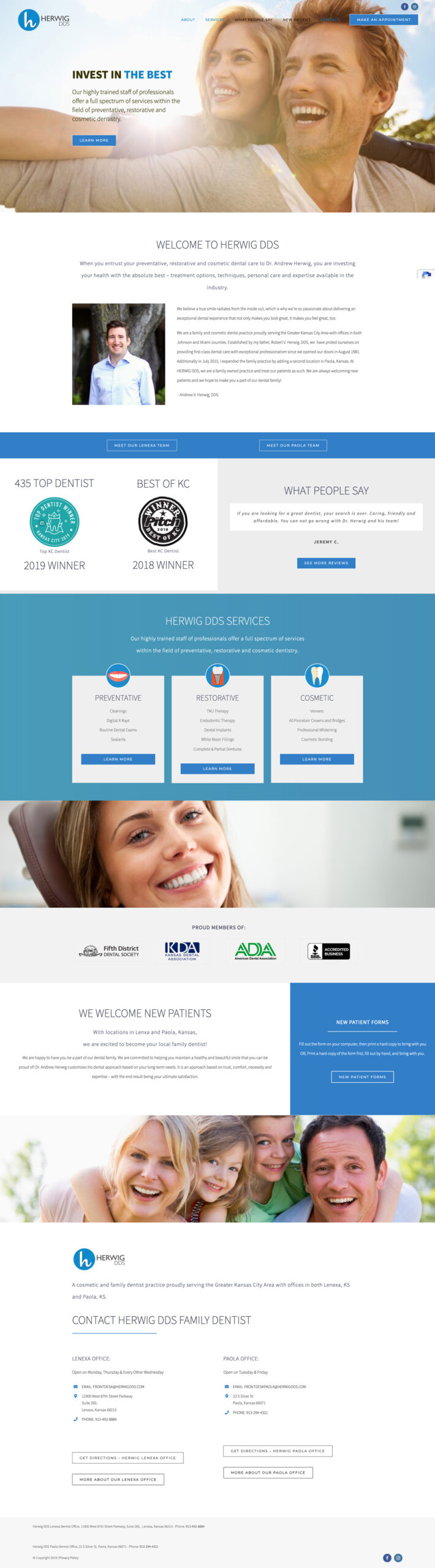Web Design for Herwig, DDS Home Page
