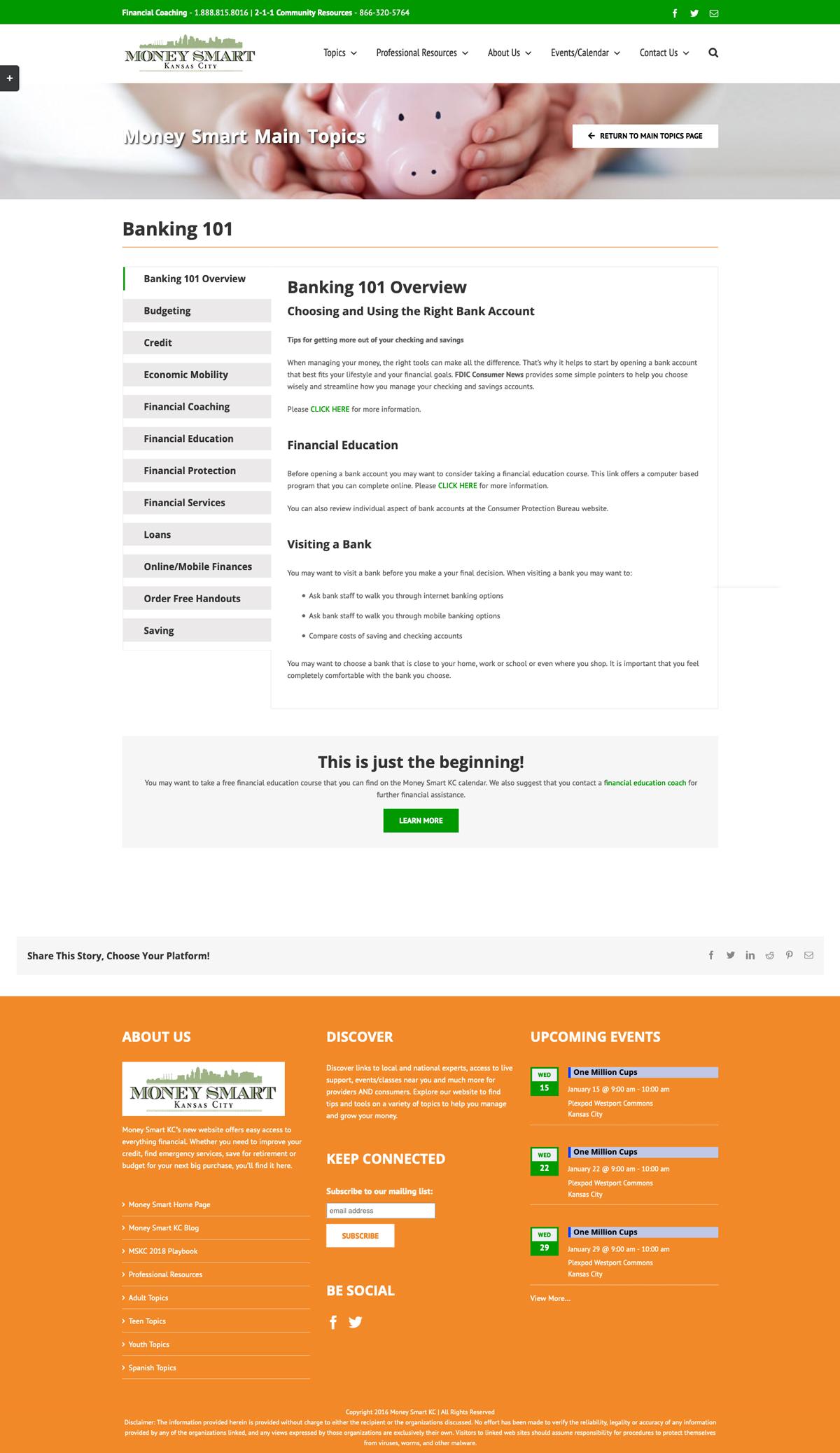 Website Design and Development for Money Smart KC
