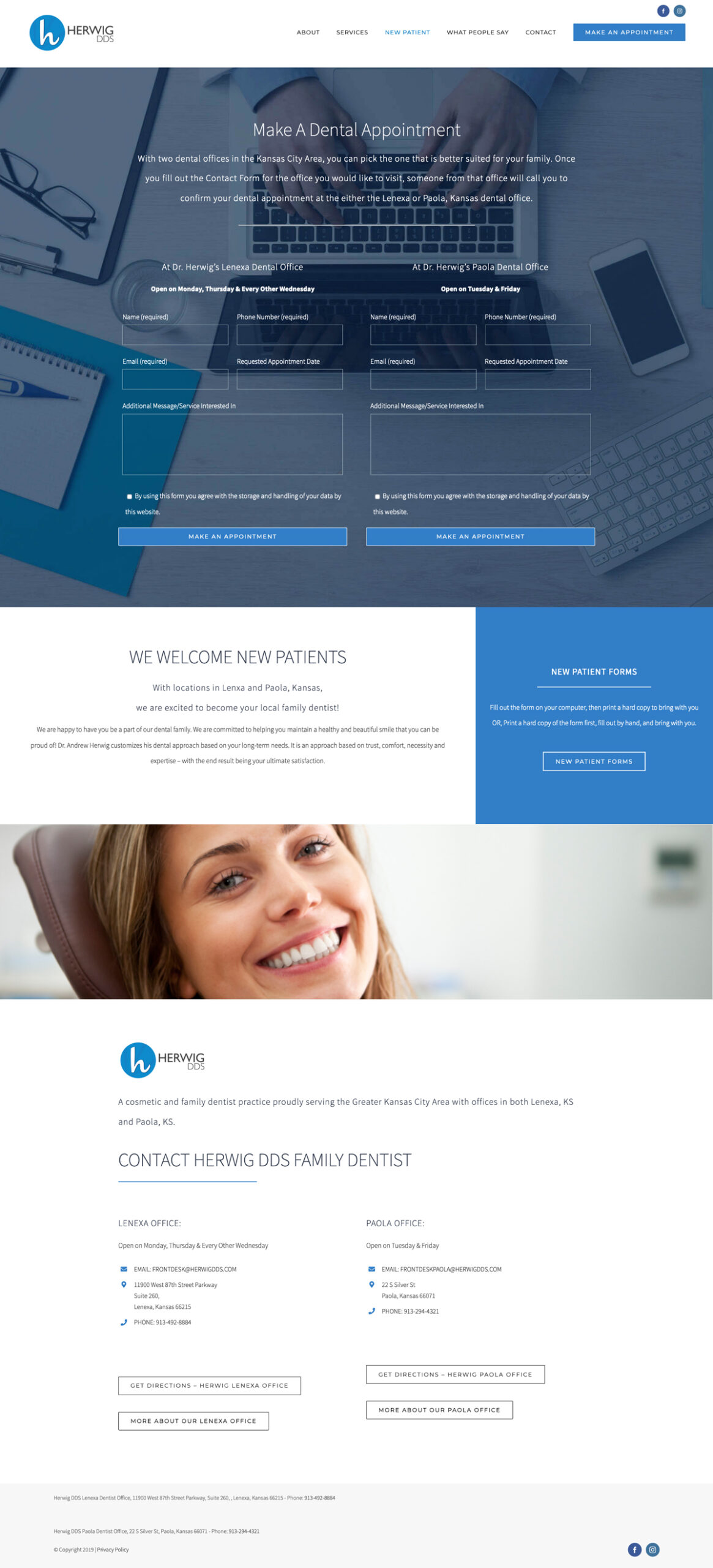 Web Design for Herwig, DDS Make an Appointment