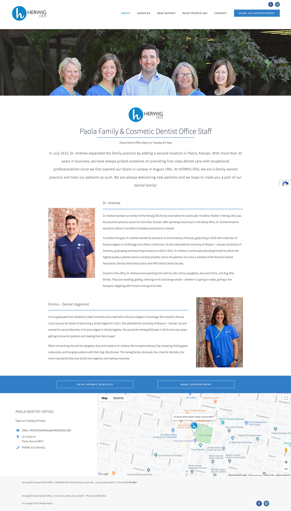 Web Design for Herwig, DDS Meet the Paola Team