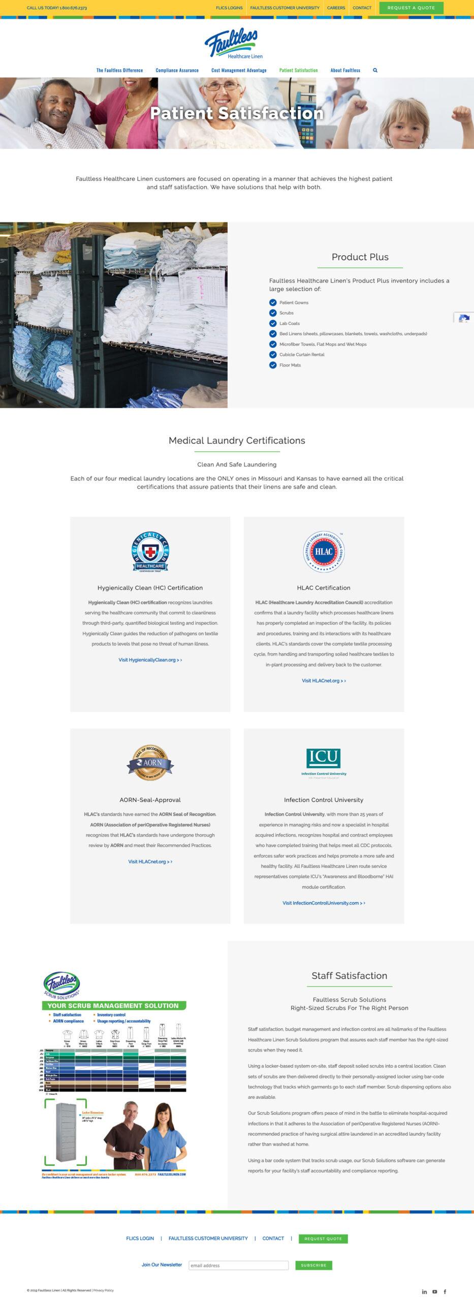 Company Website Design for Faultless Healthcare Linen Patient Satisfation