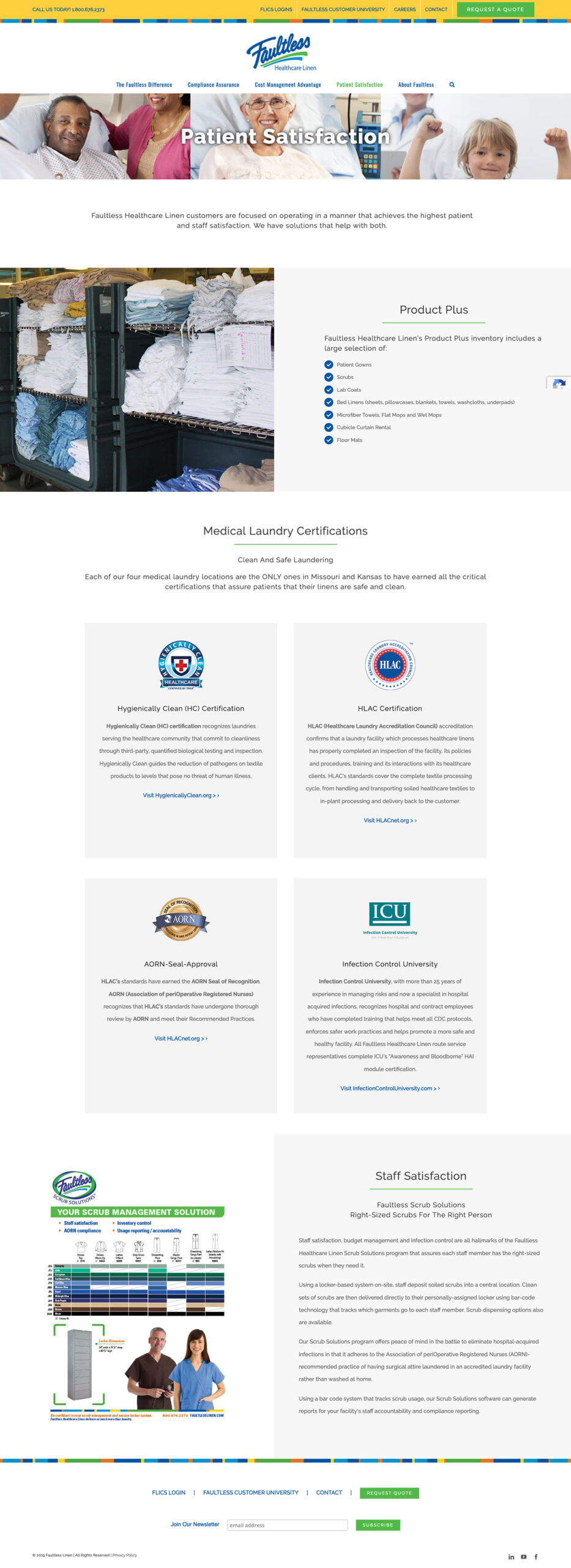 Company Website Design for Faultless Healthcare Linen Patient Satisfation