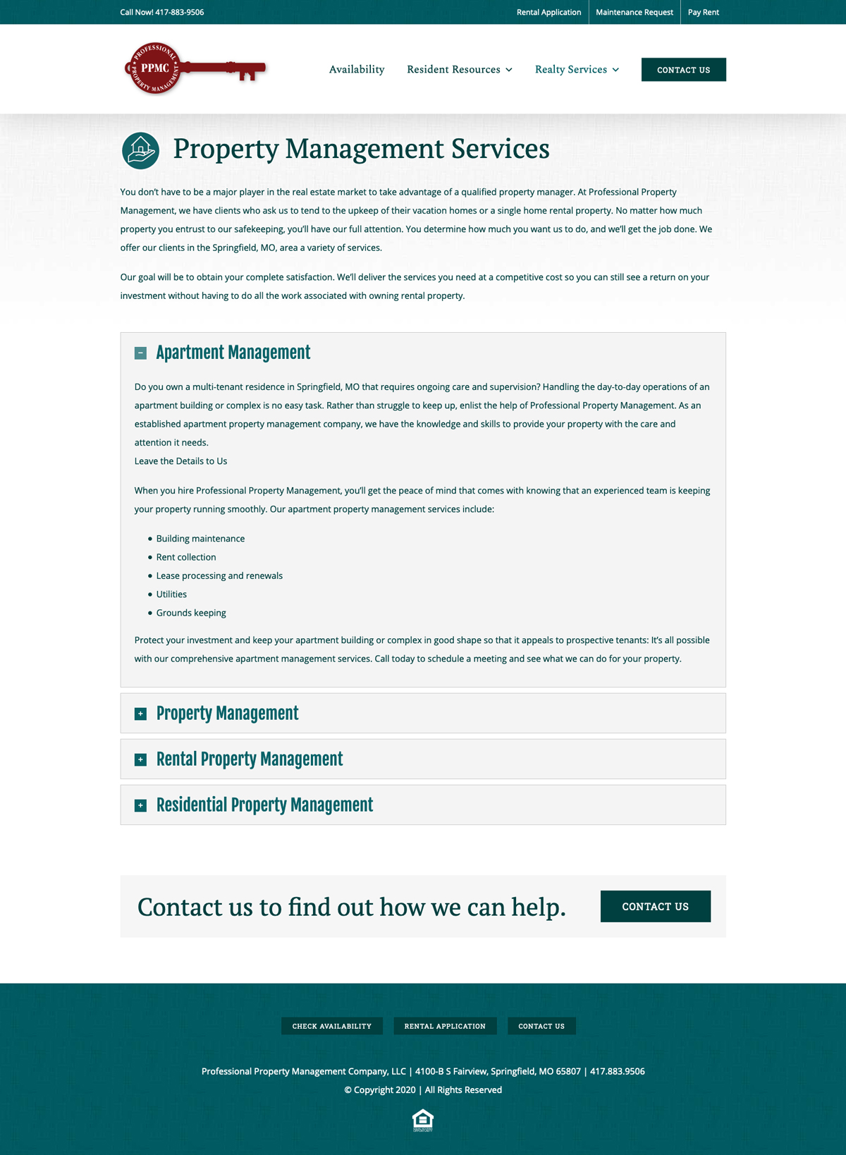 Customer Management System (CMS) Website Design for Professional Property Management Company