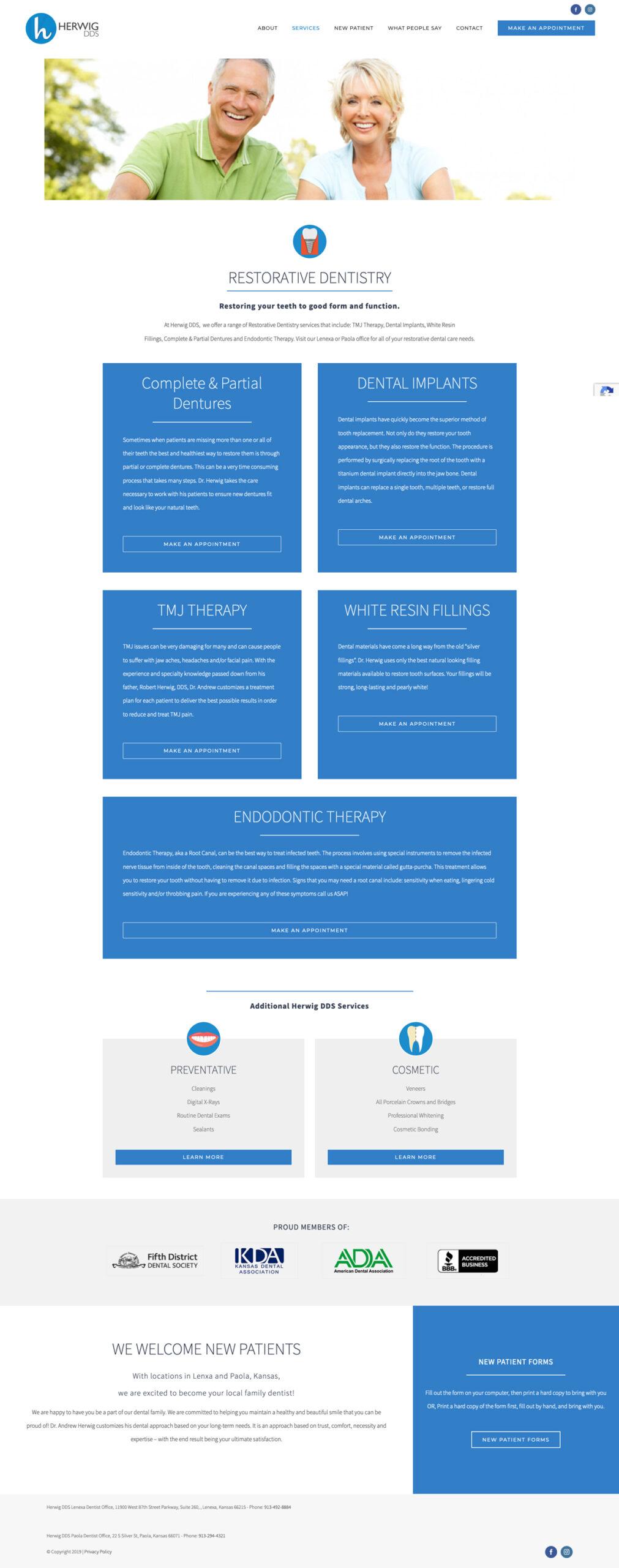 Web Design for Herwig, DDS resorative dentistry