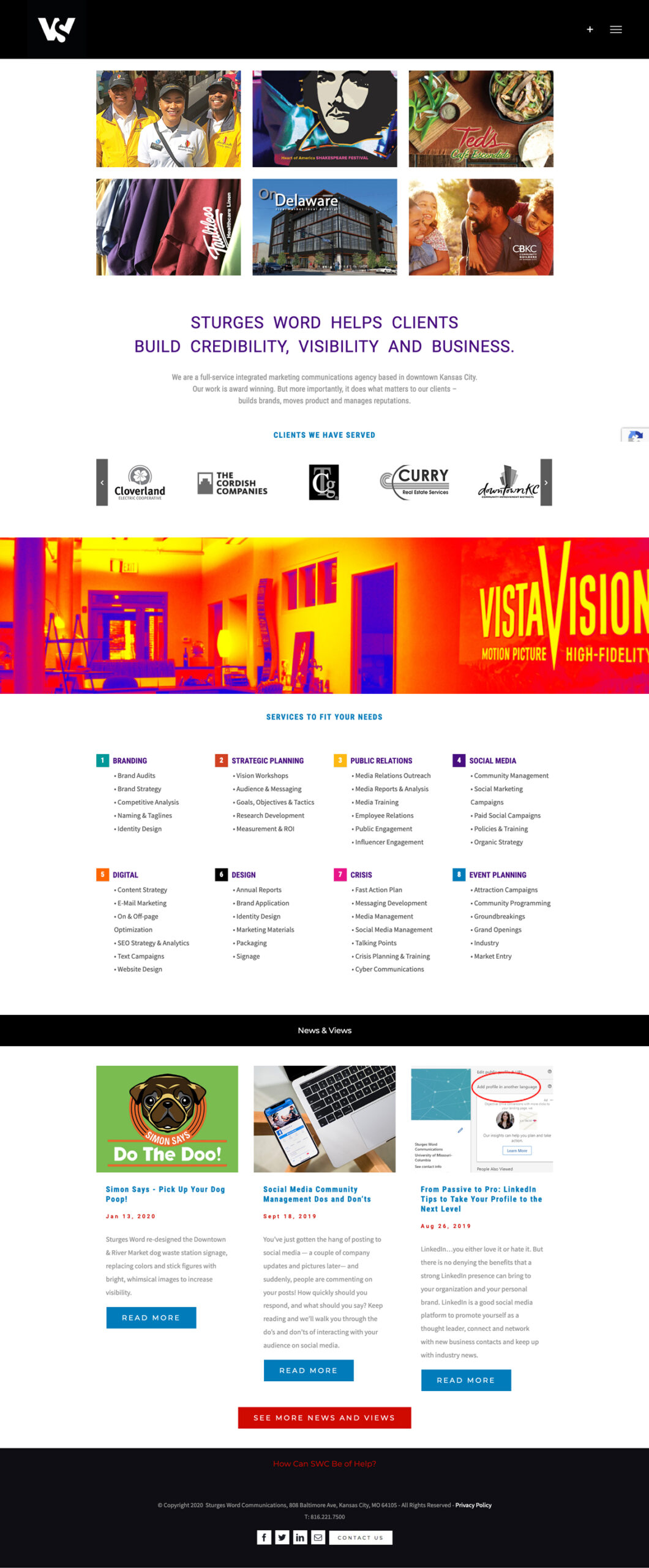 Website Development - Sturges Word Home Page