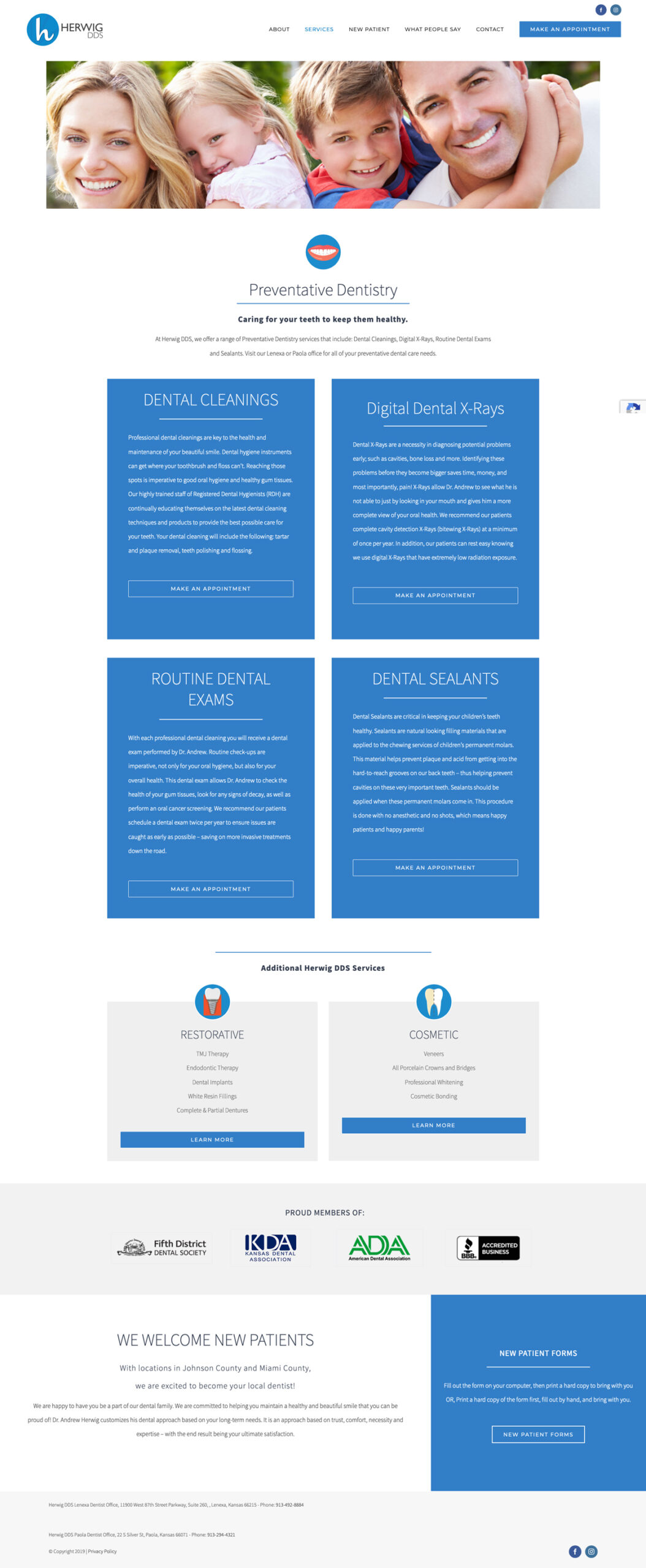 Web Design for Herwig, DDS Preventative Dentistry