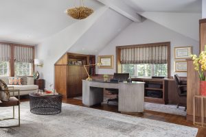 Home office with window coverings