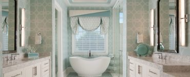 custom window treatment for a bathroom