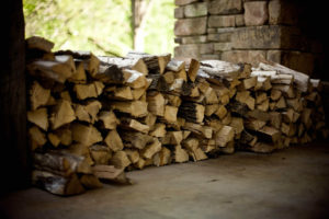 Storing firewood - stacked wood