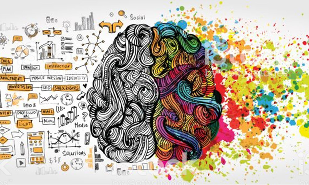 Left right human brain concept. Creative part and logic part with social and business doodle isolated on white background