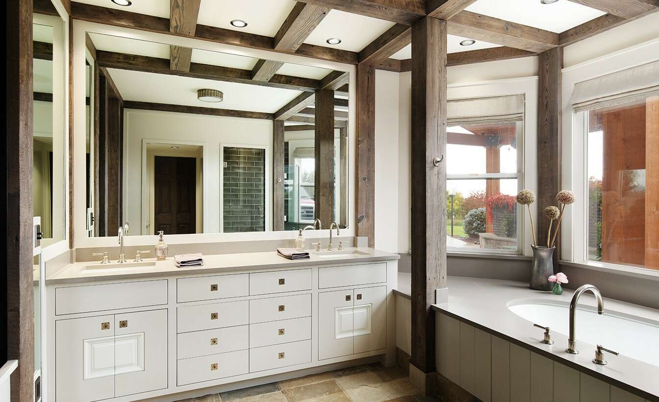 Bathroom Wood Beams & Paint