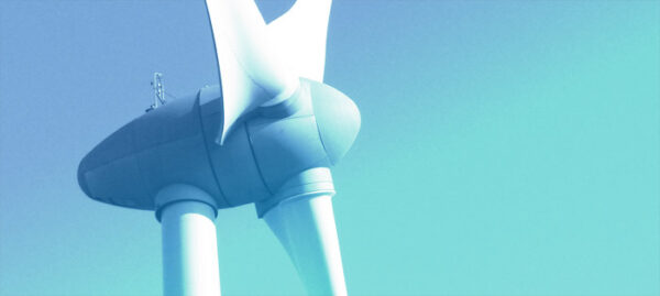 wind turbine, with blue overlay