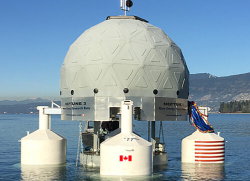 Mermaid power marine wave powered device in English Bay, Vancouver