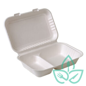 Sugarcane compostable clamshell takeaway container
