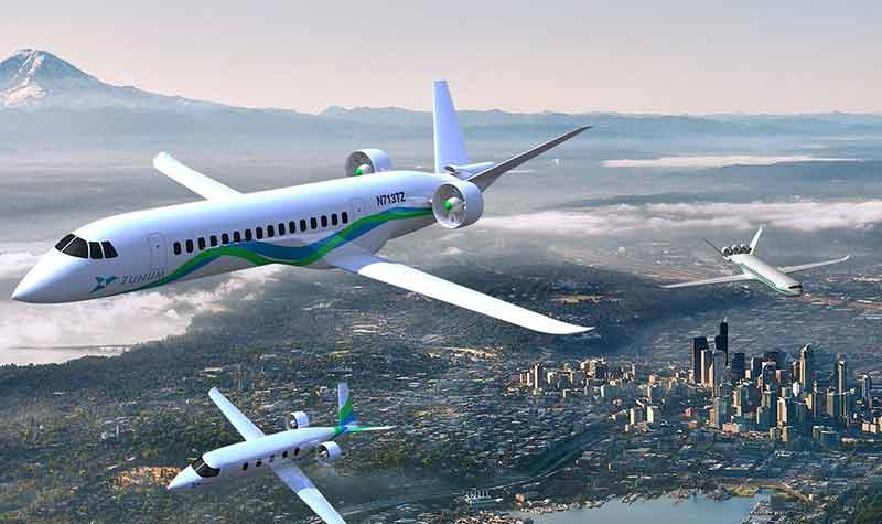 Electric, solar powered jets flying over a city