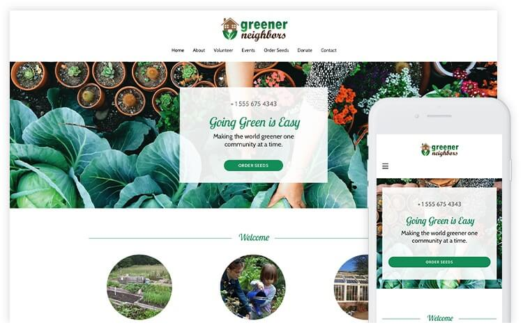overservhost website builder greener neighbors