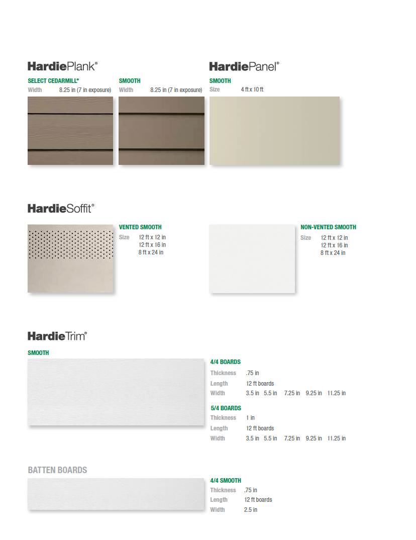 James Hardie Color Plus Statement Collection Products