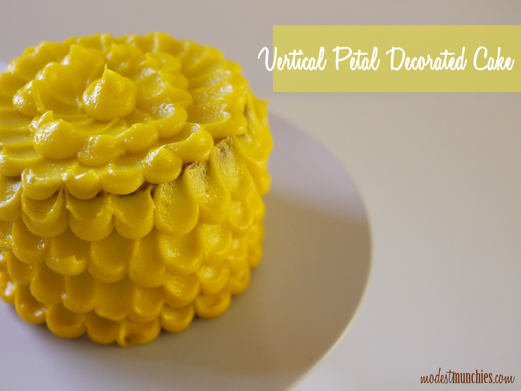 vertical petal decorated  cake