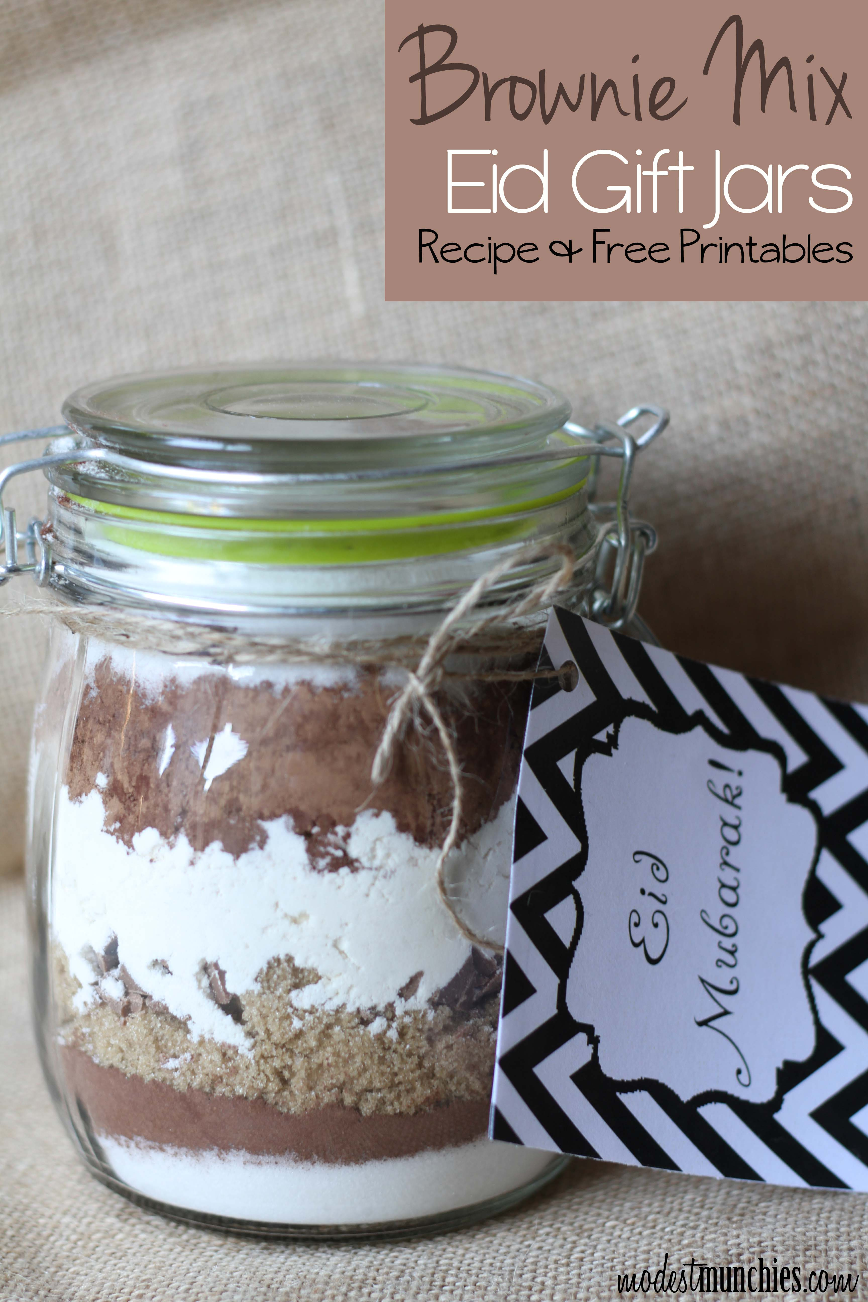 Browniw Mix Eid Gift Jard with Recipe and Free Printables