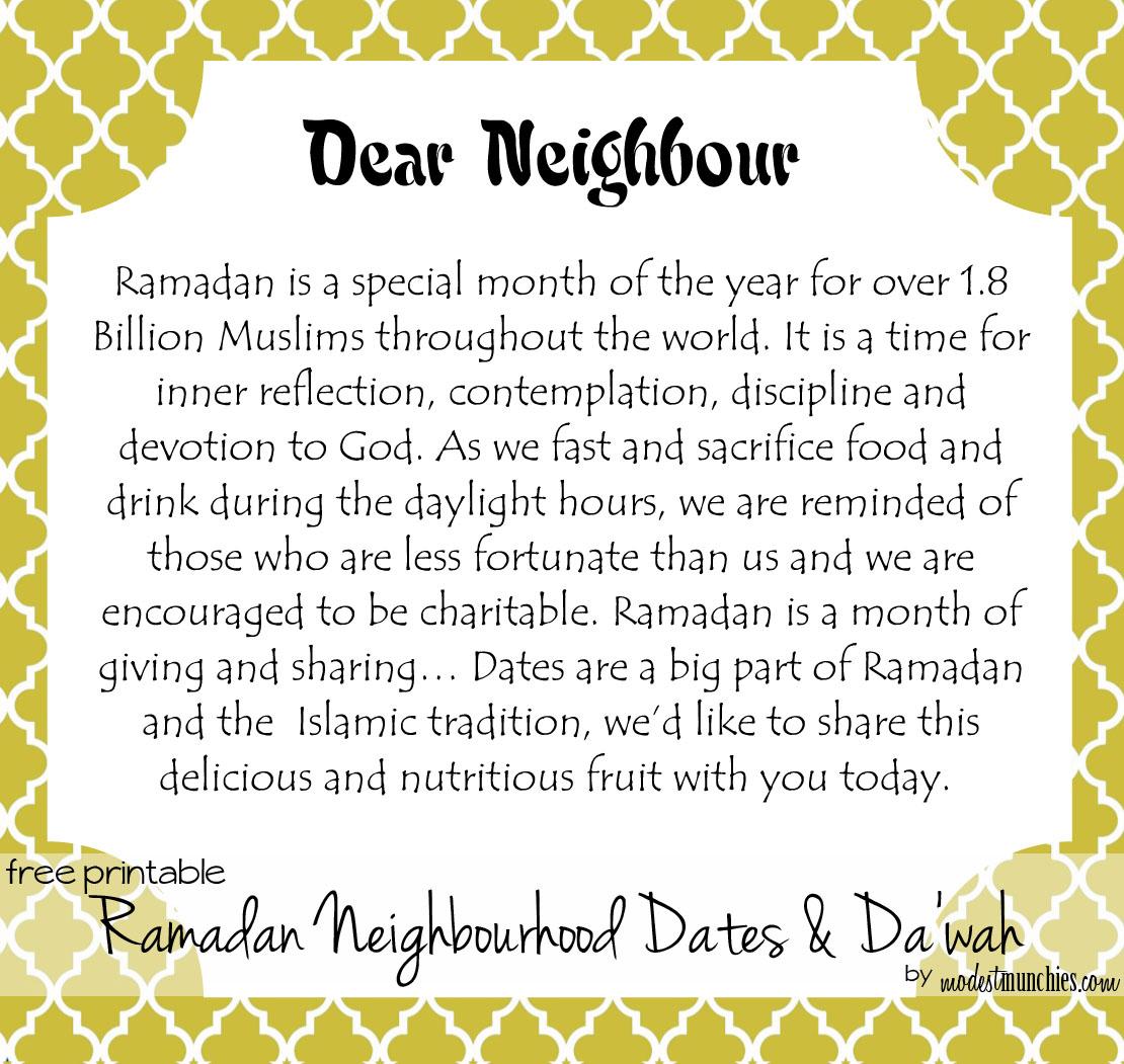 Ramadan Neighbourhood Date & Dawah Tags