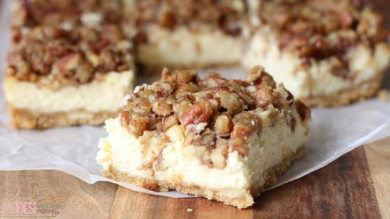Sweet Salty Pecan Cheesecake Bars