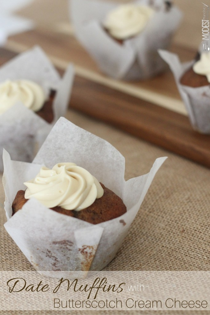 Date Muffins with butterscotch cream cheese