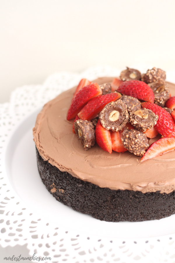 no bake Chocolate Cheesecake with oreo crust
