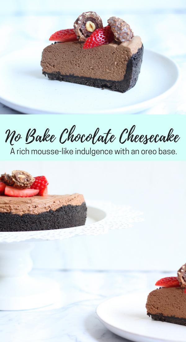 No bake chocolate cheesecake with oreo base