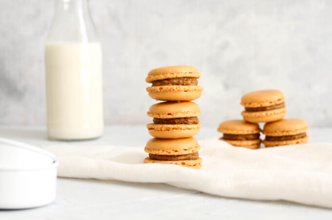 biscoff macaron stacks and milk bottle