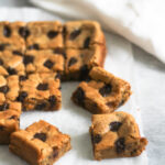Chickpea blondies on baking paper
