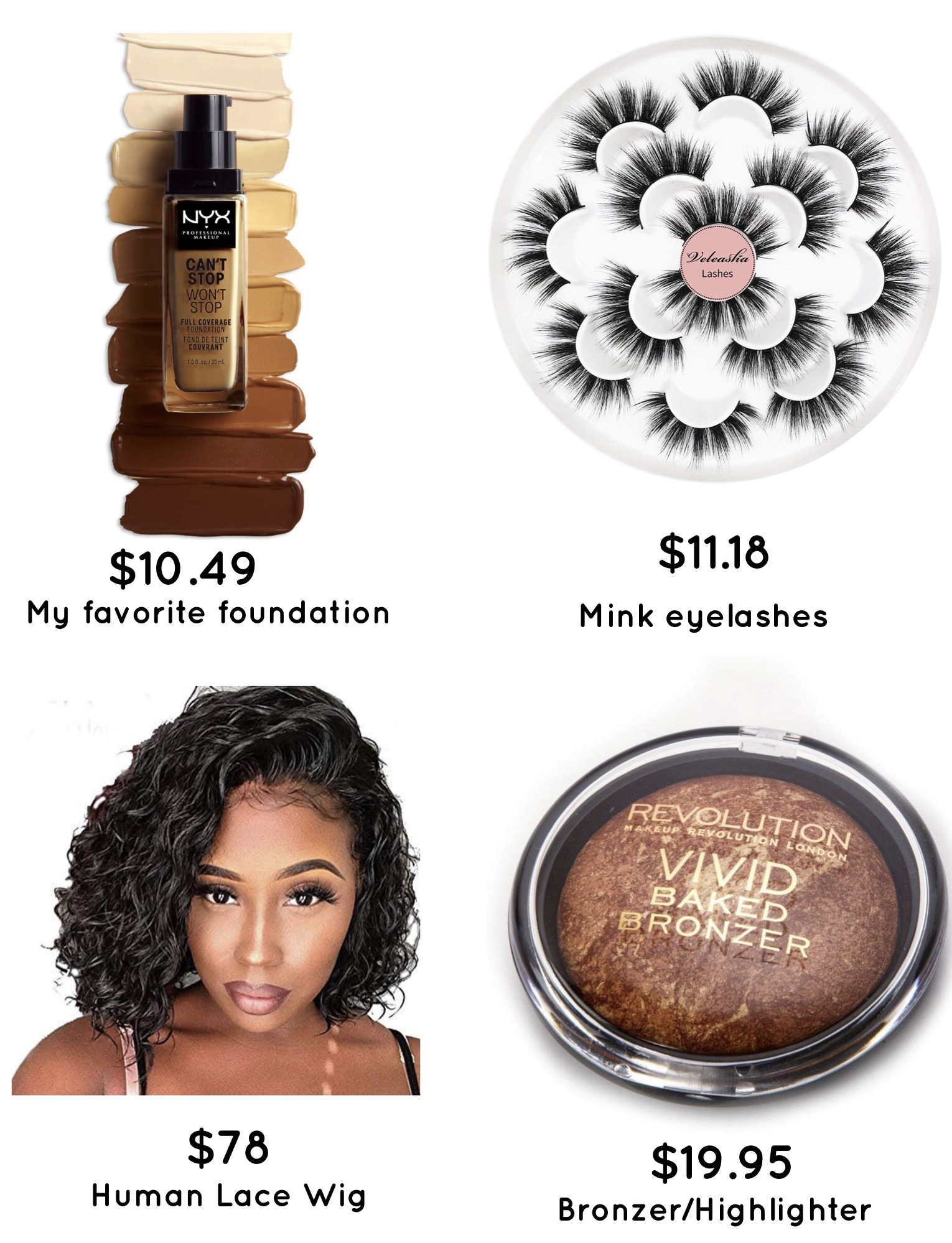 Affordable Amazon beauty products every black girl need. Full bob human lace wig and one of the best hightlighter.