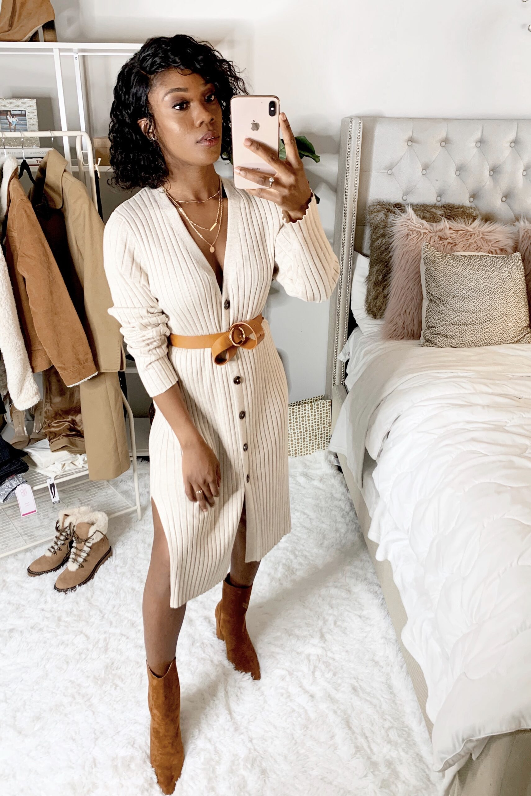 Walmart brand Time and Tru sweater dress. Cute and affordable Fall and winter outfit for date night. I