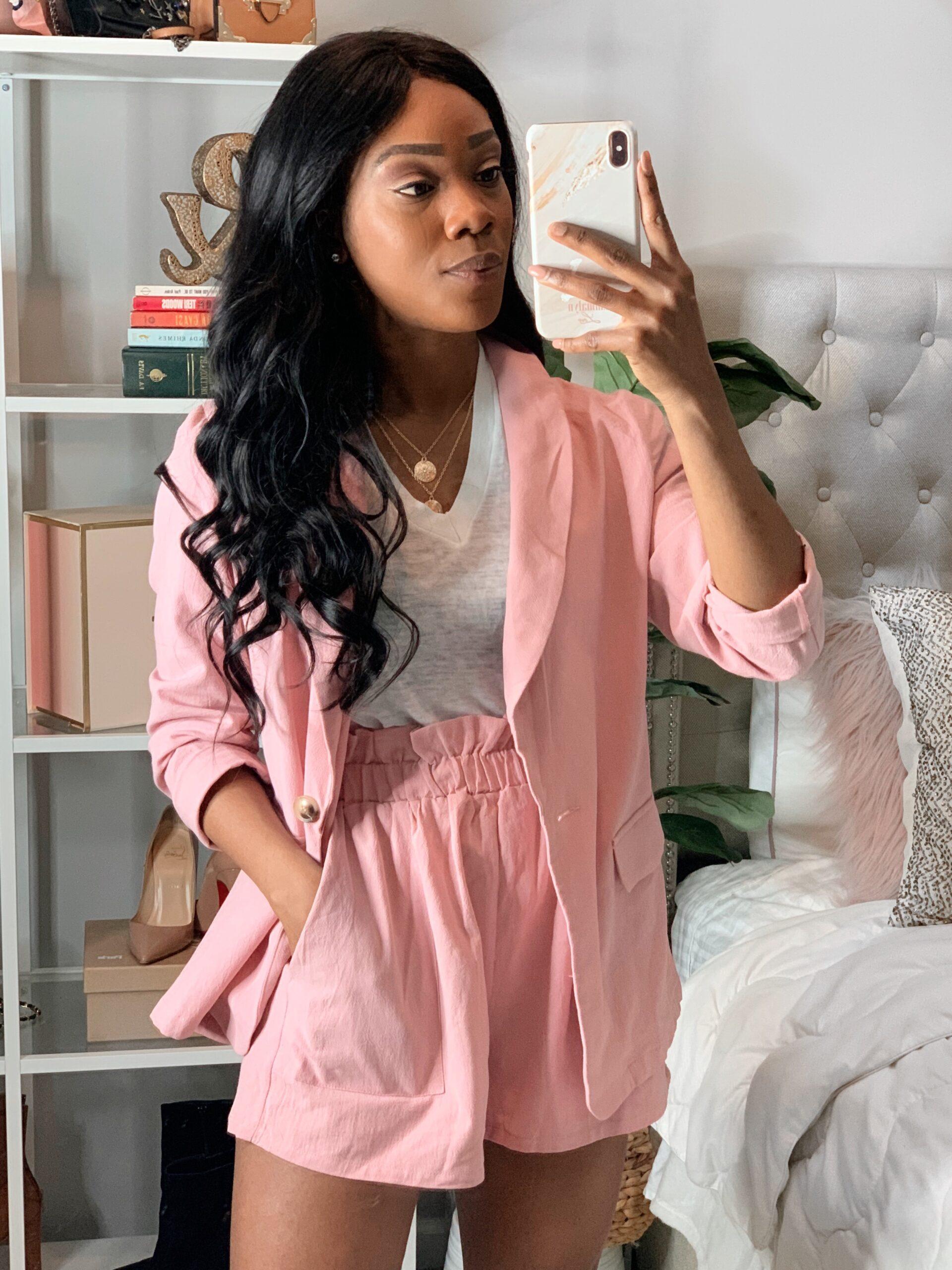 Amazon Fashion | Women pink blazer shorts set . Spring and Summer shorts and blazer.
