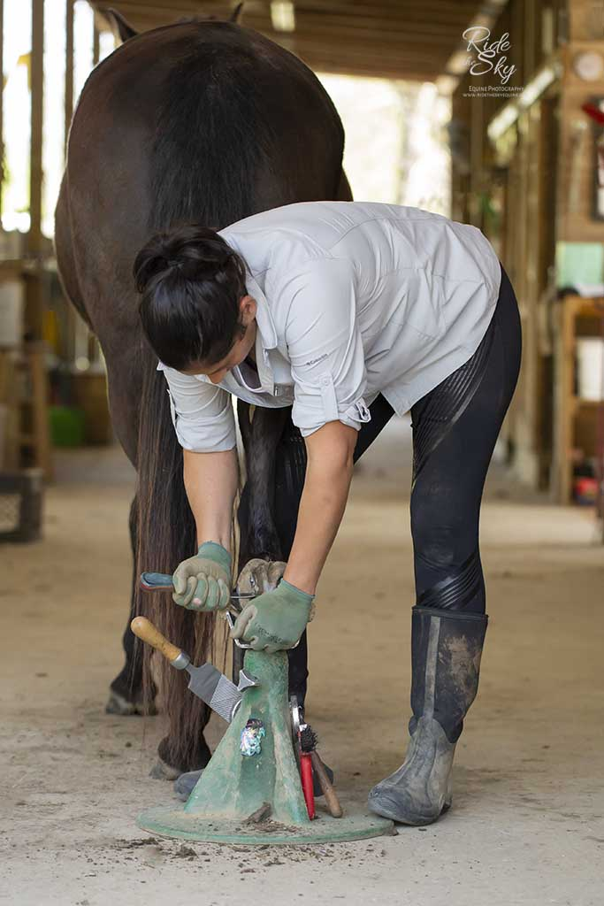 Christina Mendoza-Green trims the hoof of a horse at Hidden Hills Farm & Saddle Club in Ooltewah, TN