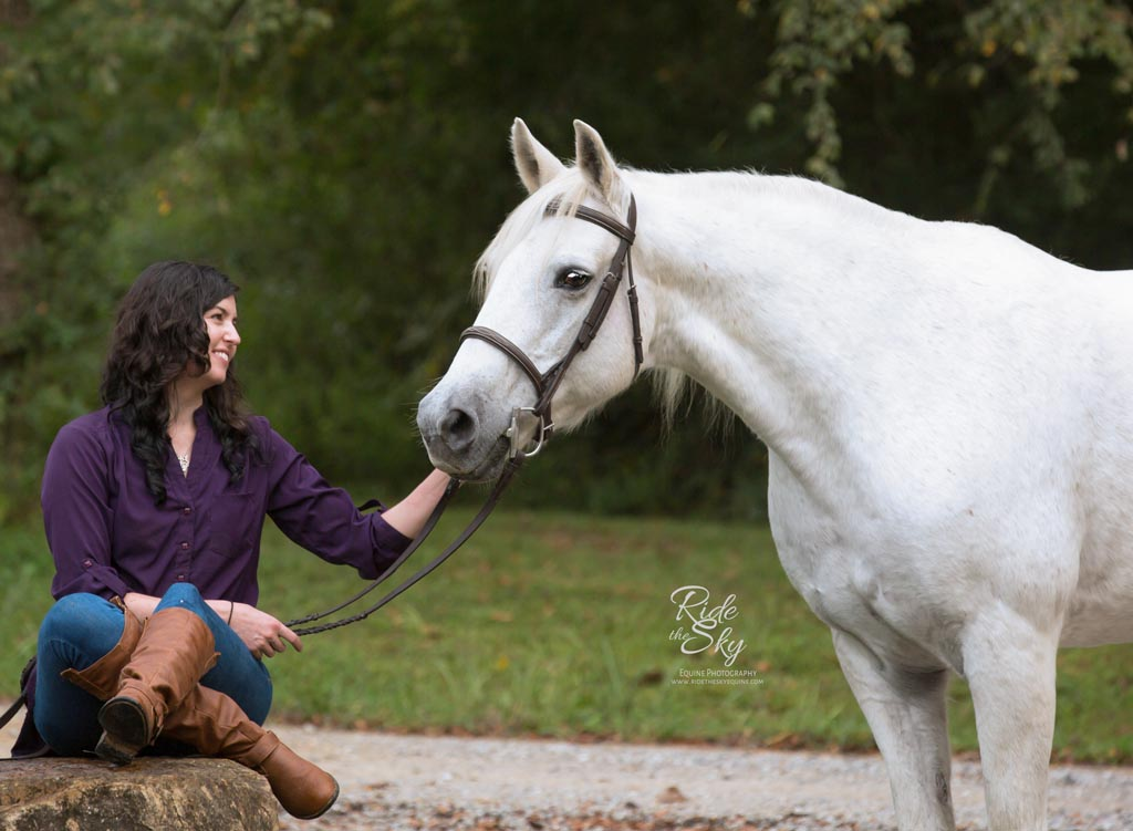 Girl on Rock with horse at Hidden Hills Farm & Saddle Club in Ooltewah, TN