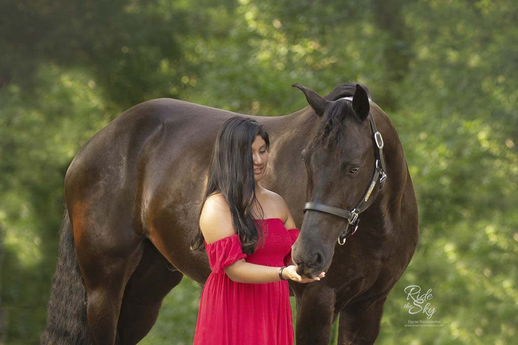 Girl in red dress with horse in Chattanooga, TN