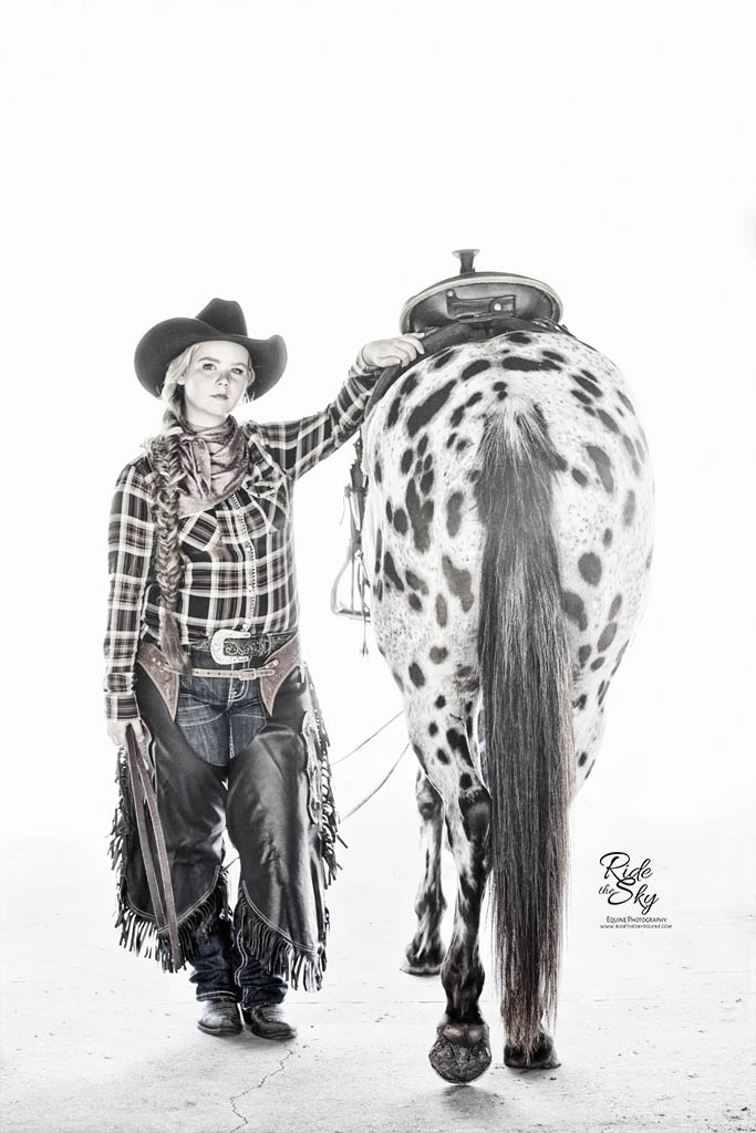 Cowgirl and Leopard Appaloosa Horse Portrait on White Background