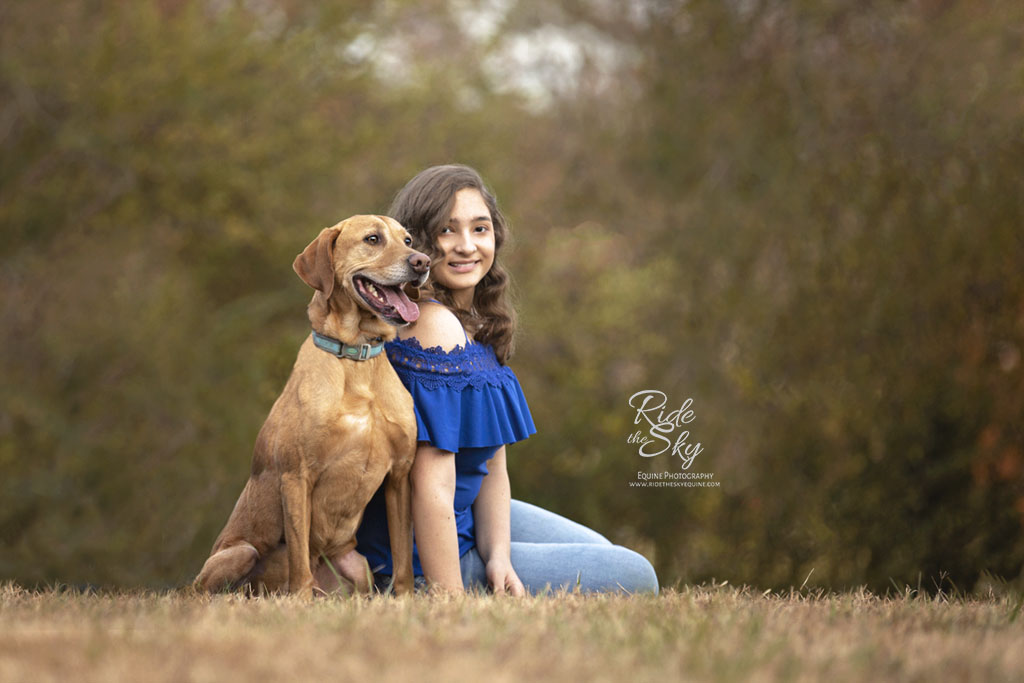 Girl and Dog in Field in Chattanooga, Tennessee