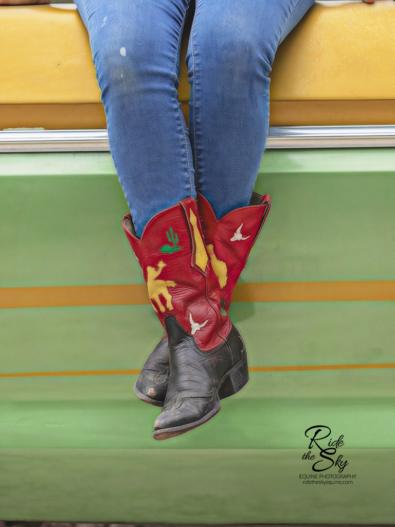 Red and Yellow Cowboy Boots on a Green and Yellow Truck