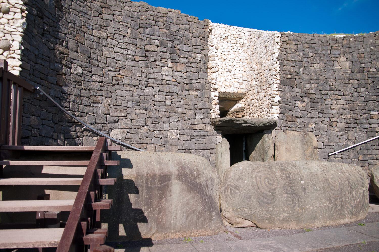 Newgrange Irish passage tomb entrance stone, Ireland.