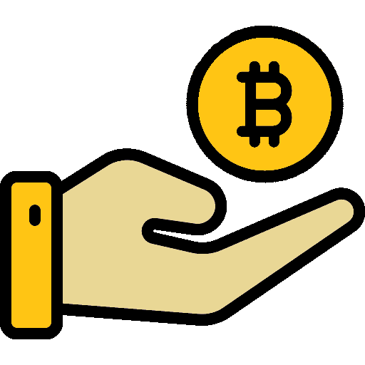 hand receiving bitcoin and cryptocurrency