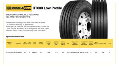 DoubleCoin RT600 Low Profile Specifications Sheet