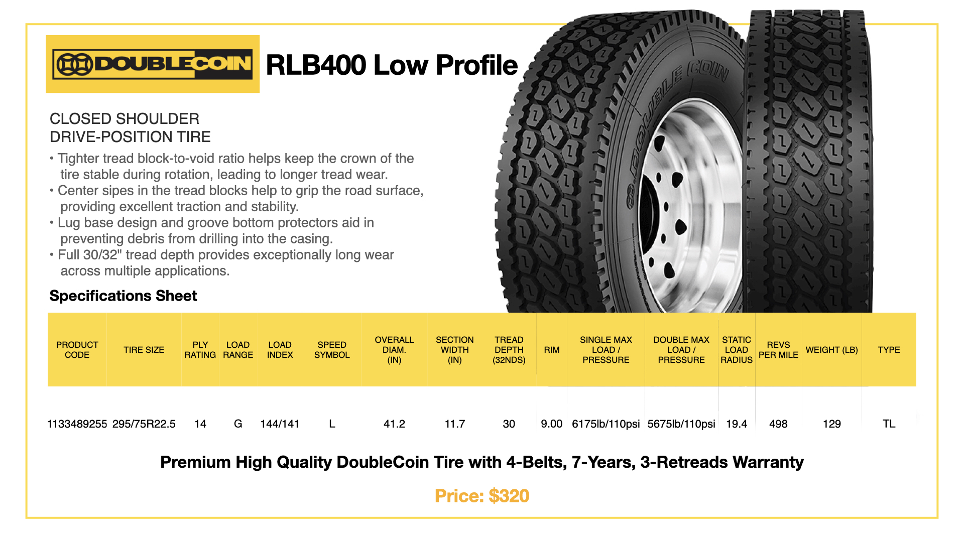 DoubleCoin RLB400 Low Profile Specifications Sheet